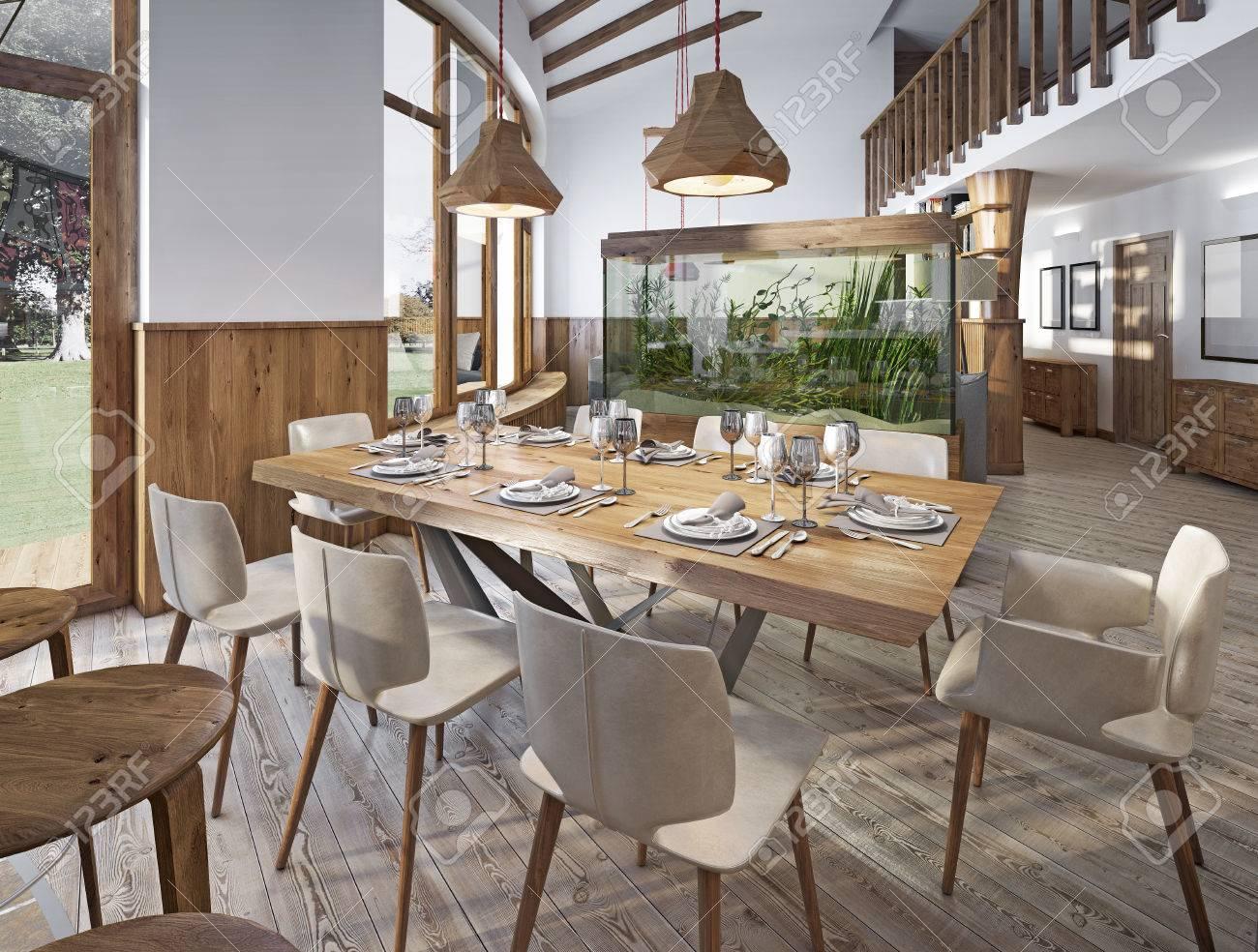 Served Table Pour Huit Personnes Dans La Salle A Manger Dans Le Loft