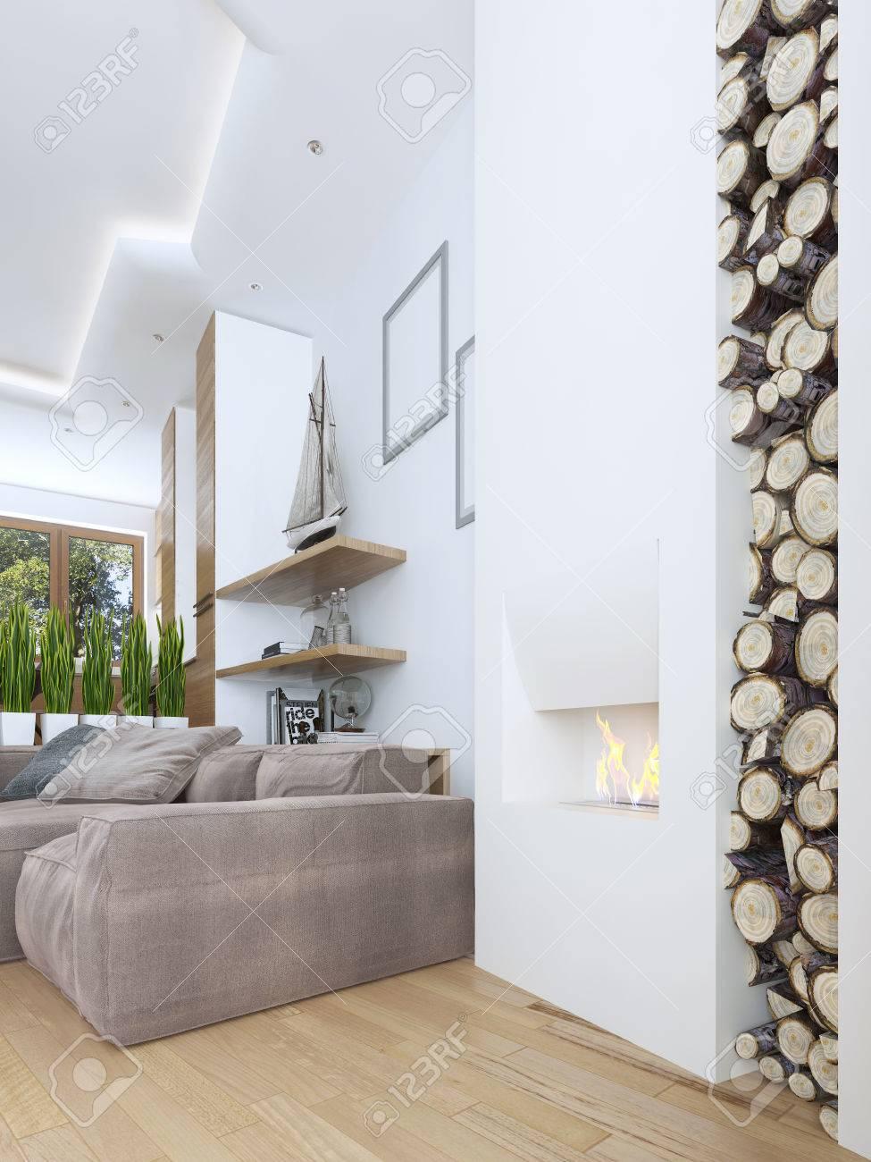 Idée De Cheminée Moderne l'idée de la cheminée design dans un style moderne avec une niche pour le  bois de chauffage. grande cheminée blanche intégrée dans le mur. cheminée