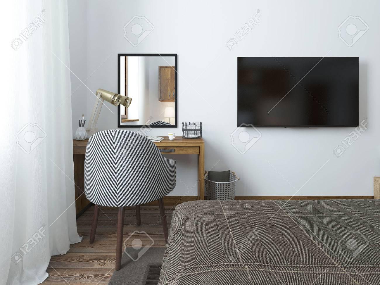 Hervorragend Standard Bild   TV Hängt An Der Wand Und Schreibtisch Im Schlafzimmer Auf  Dem Dachboden. Stoff Bequemer Stuhl Mit Einer Gestreiften Textur. 3D  übertragen.