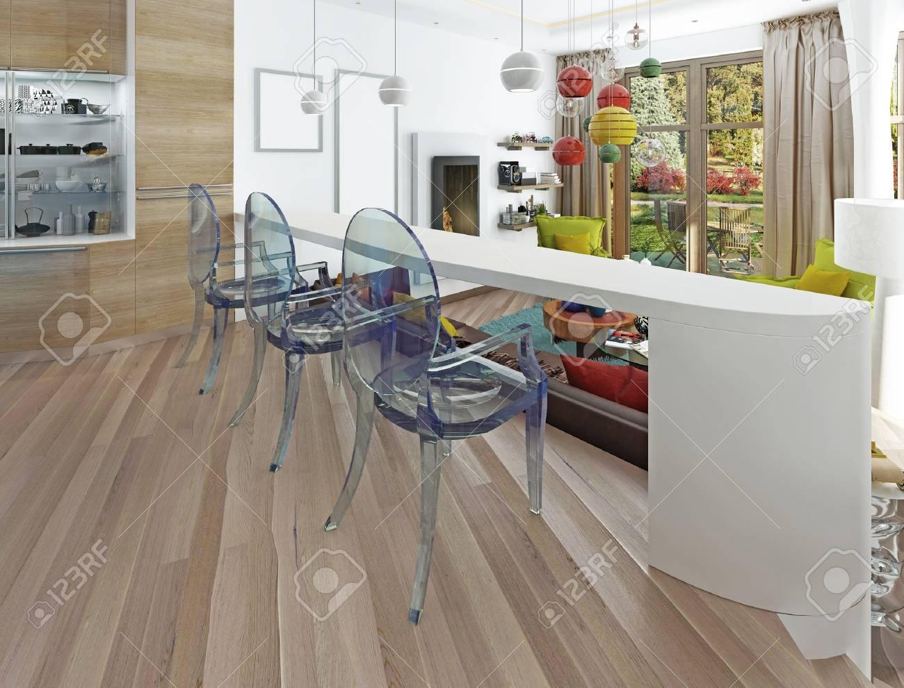 Moderne Weiße Bar Mit Drei Transparenten Stühlen. Die Theke In Der ...
