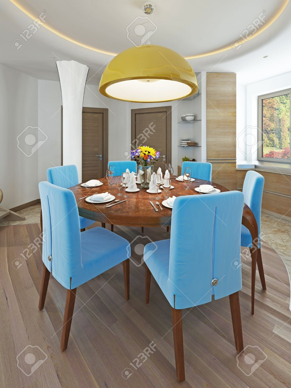 Modern Dining Room With Kitchen In A Trendy Style Kitsch. Round ...
