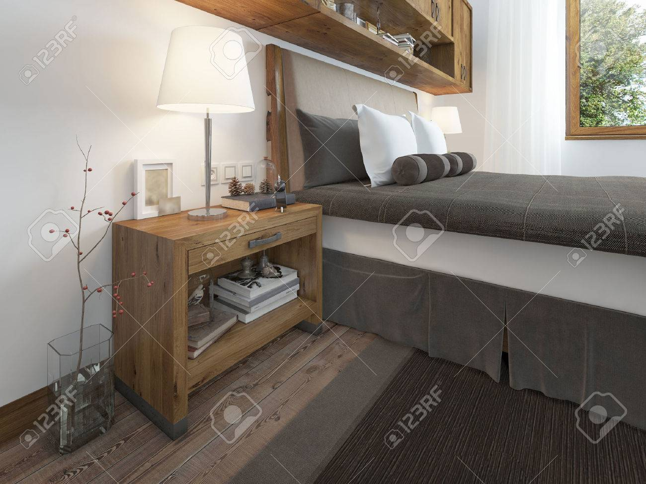 Wooden bedside table with a niche for the decor bedside table wooden bedside table with a niche for the decor bedside table with lamp and books aloadofball Choice Image