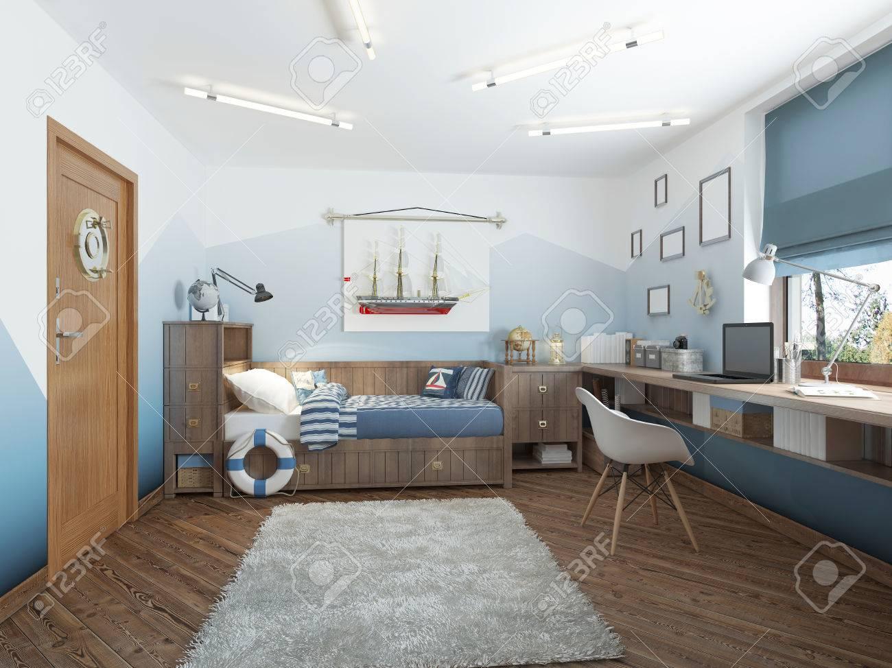 Moderne Kinderzimmer Für Einen Teenager Im Nautischen Stil Mit ...