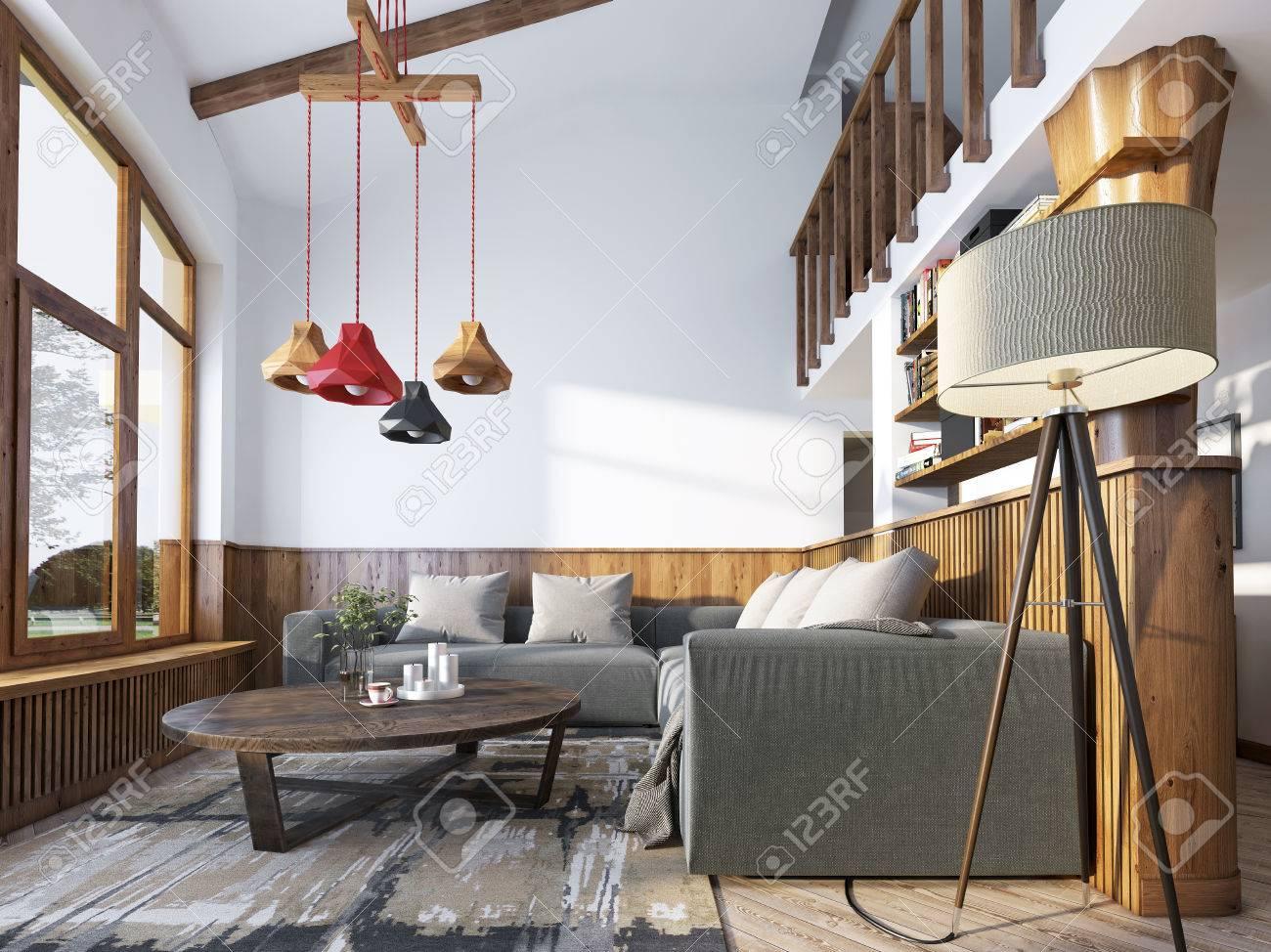 Moderne Wohnzimmer In Einem Loft Stil. Wohnzimmer Mit Ecksofa Und Wand Mit  Holzverkleidung Und
