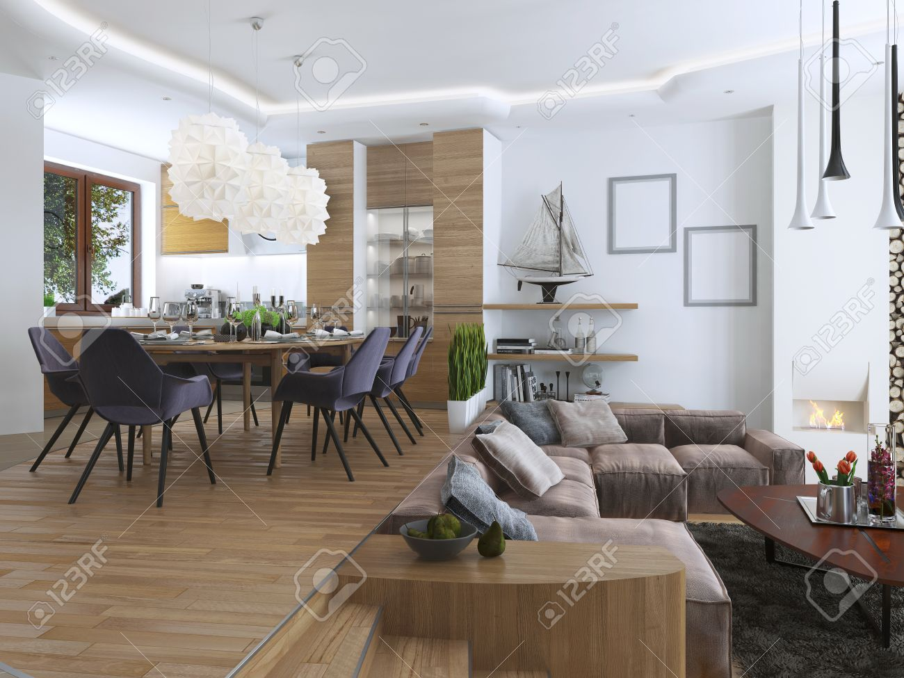 monolocale con soggiorno e sala da pranzo in stile contemporaneo ... - Design Soggiorno Pranzo