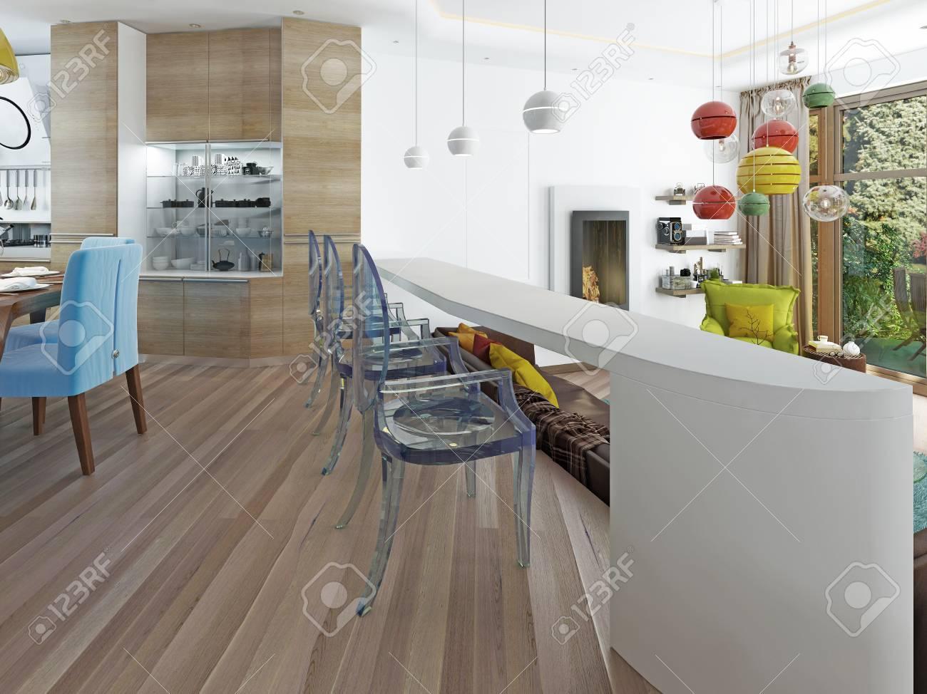 Bar Blanc Moderne Avec Trois Chaises Transparentes Le Comptoir Du