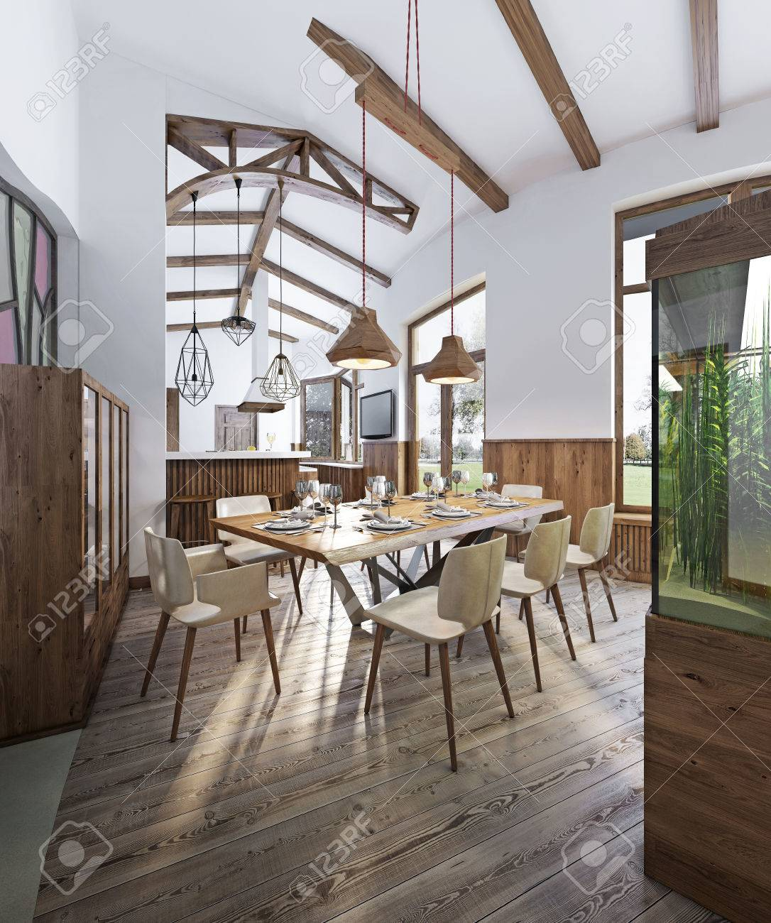 Good Dining Room With Large Dining Table And High Ceilings In The Loft. Dining  Smoothly Into