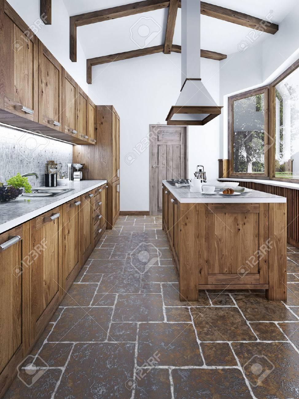 Moderne Kuche Im Loft Stil Kucheninsel Mit Einer Kapuze Uber Sie