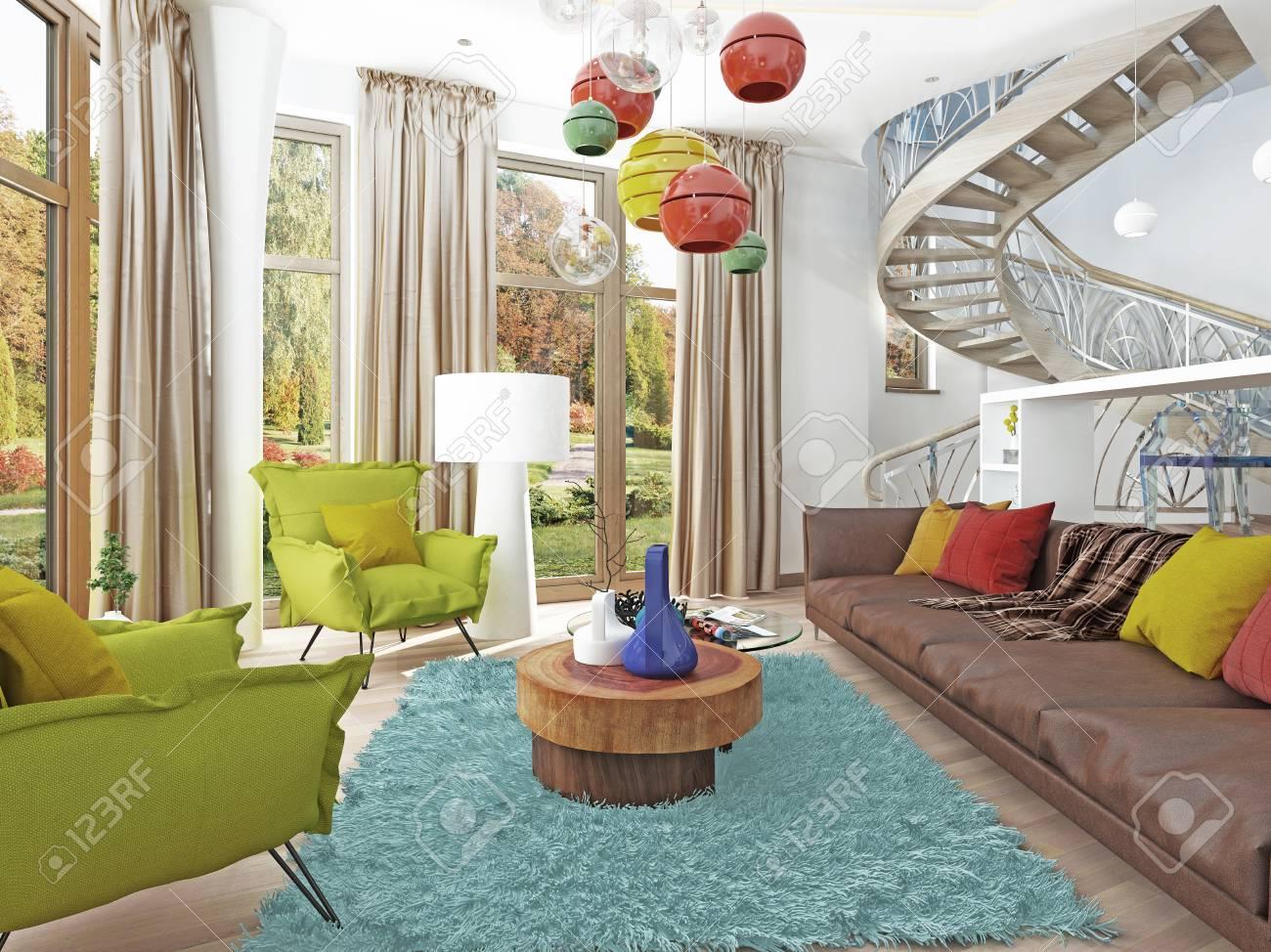 Elegant Luxus Großes Wohnzimmer Im Stil Des Kitsches. Moderne Wohnzimmer Mit Großen  Leder, Braun Sofa