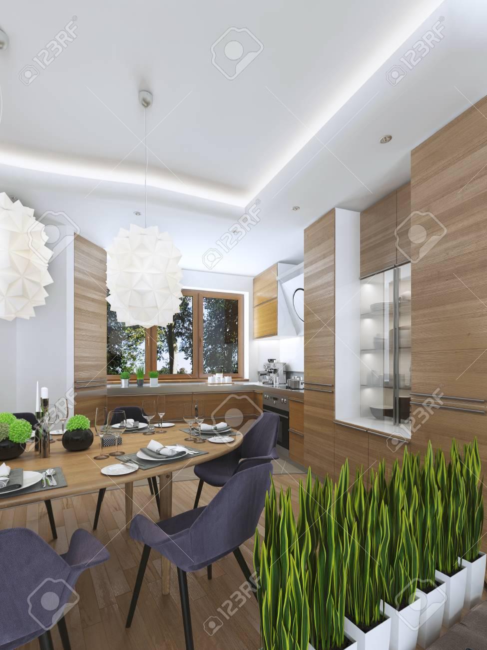 Wohnküche Design In Einem Modernen Stil Mit Einem Esstisch Und ...