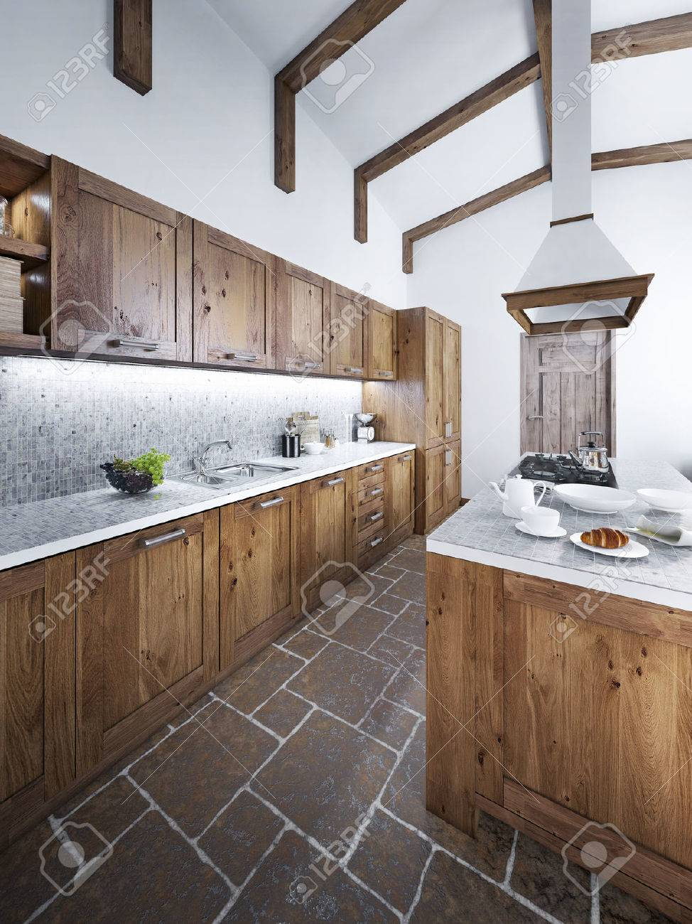 Große Schöne Küche In Einem Rustikalen Stil Mit Einer Insel Und An ...