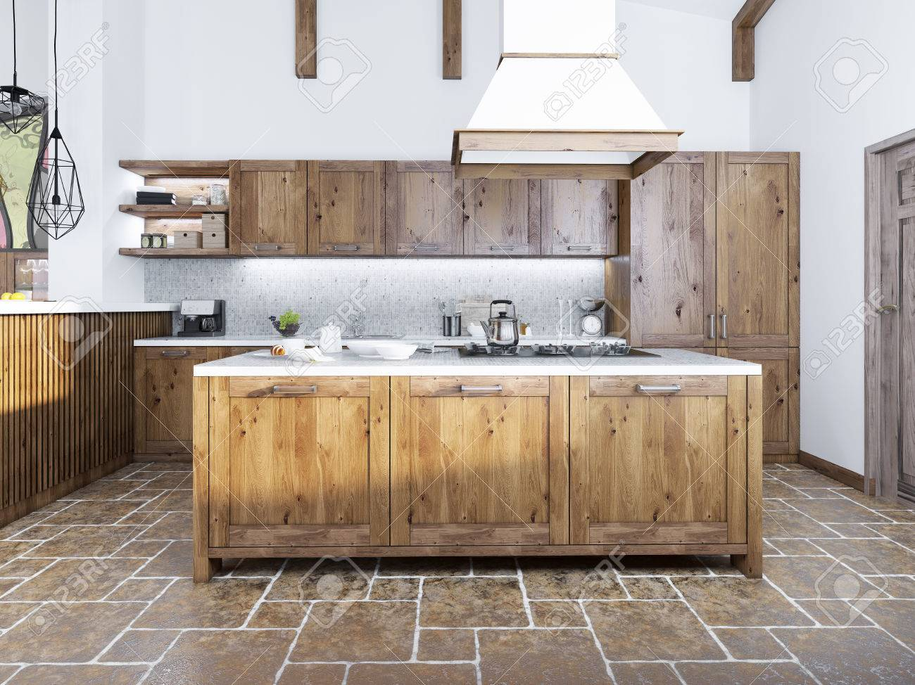 Modern kitchen in the loft style. Kitchen island with a hood..