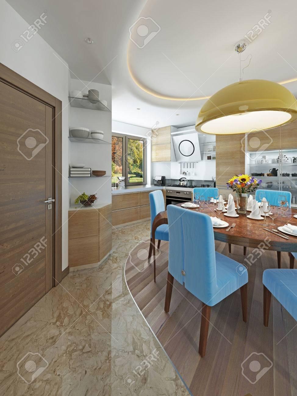Cuisine Moderne Salle A Manger Dans Le Style Du Kitsch Cuisine Avec Bois Clair Table A Manger Pour Six Personnes Rendu 3d
