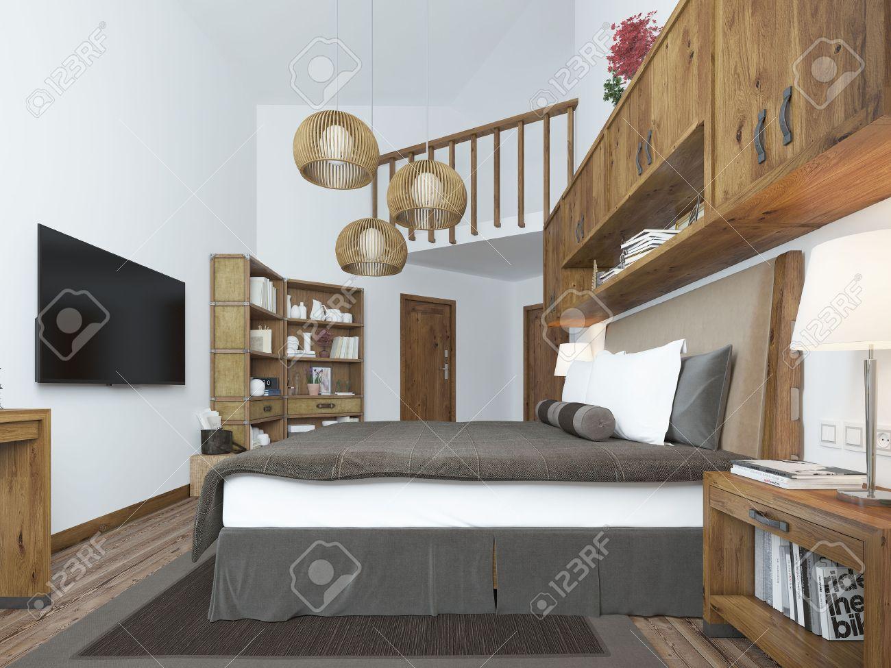 Gran Dormitorio En Estilo Moderno Con Elementos De Un Loft Rstico