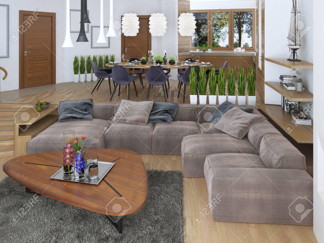Moderna Sala De Estar Con Un Estilo Loft, Mezclando Suavemente En La ...