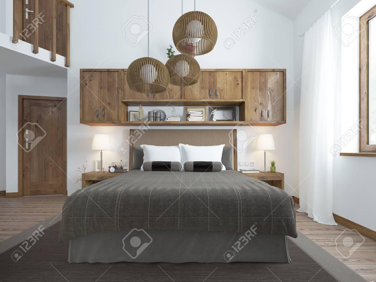 Camera Da Letto Nel Soppalco : Vista frontale del letto nella camera da letto nel soppalco l