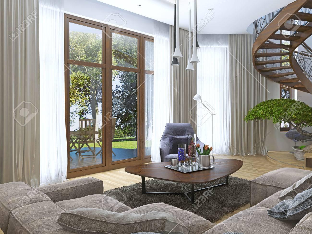 Vivre Dans Un Style Moderne Avec Un Escalier En Bois En Colimaçon Au ...