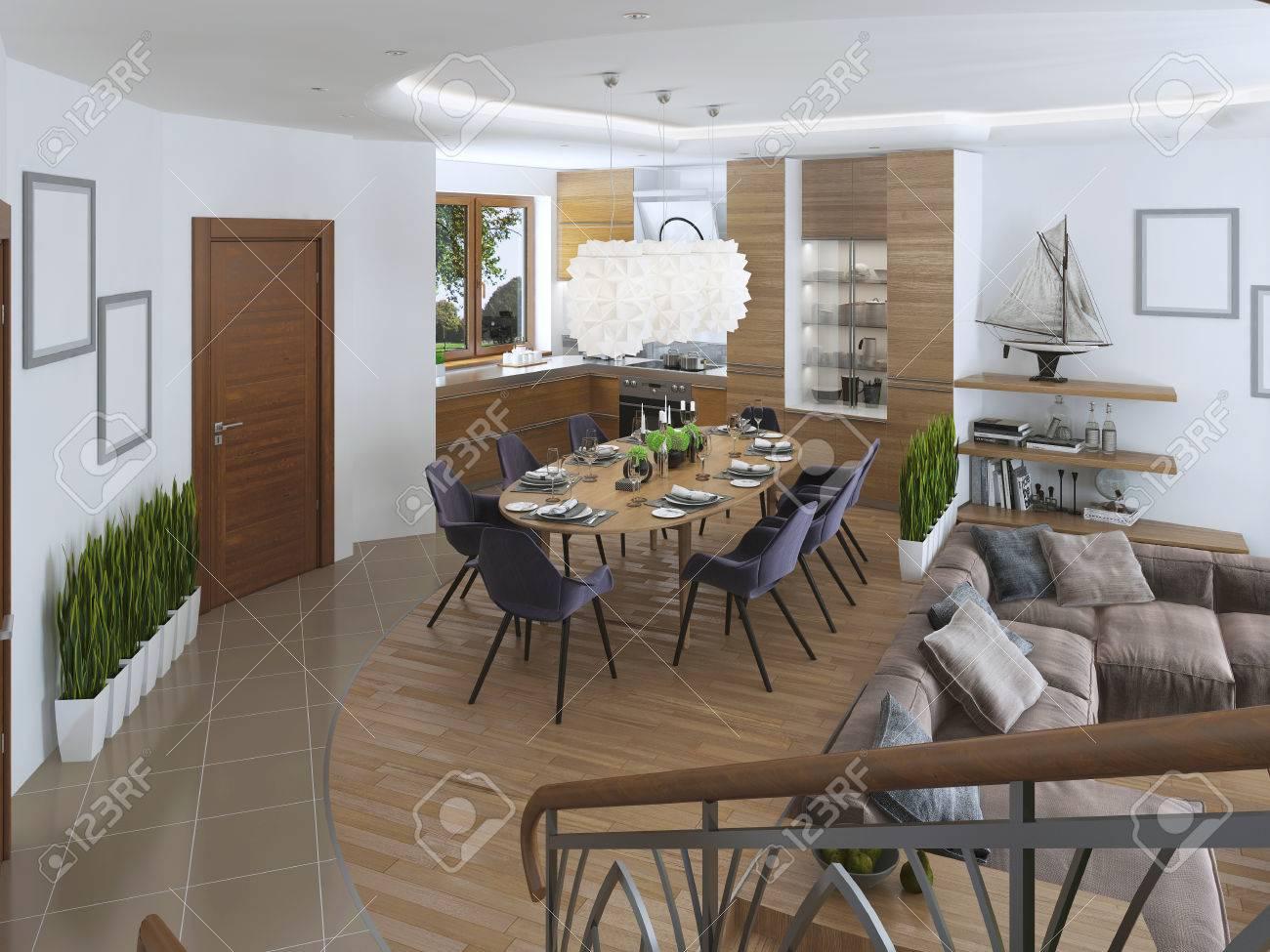 Credenza Con Cucina : Immagini stock la stanza è un monolocale con cucina e zona