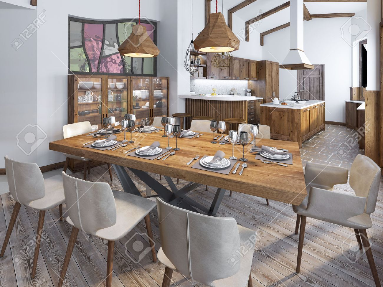 Moderne Küche Und Esszimmer Auf Dem Dachboden. Küchenmöbel Aus Massivholz.  Hohe Decken Mit Sichtbaren