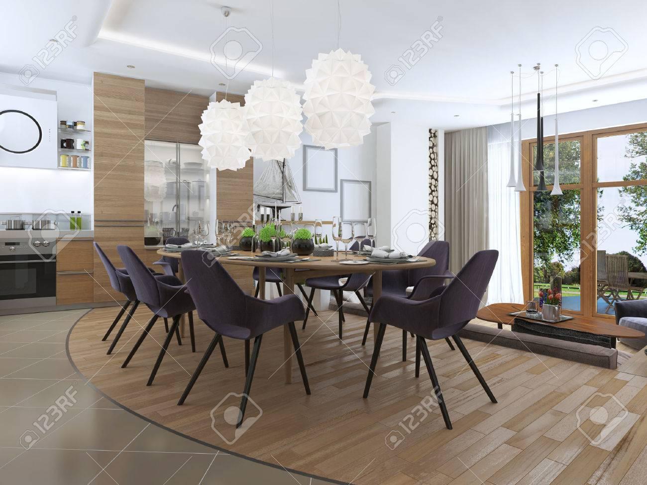 Moderne Wohnzimmer In Einem Loft Stil, Mischen Sanft In Die Küche Und  Esszimmer.
