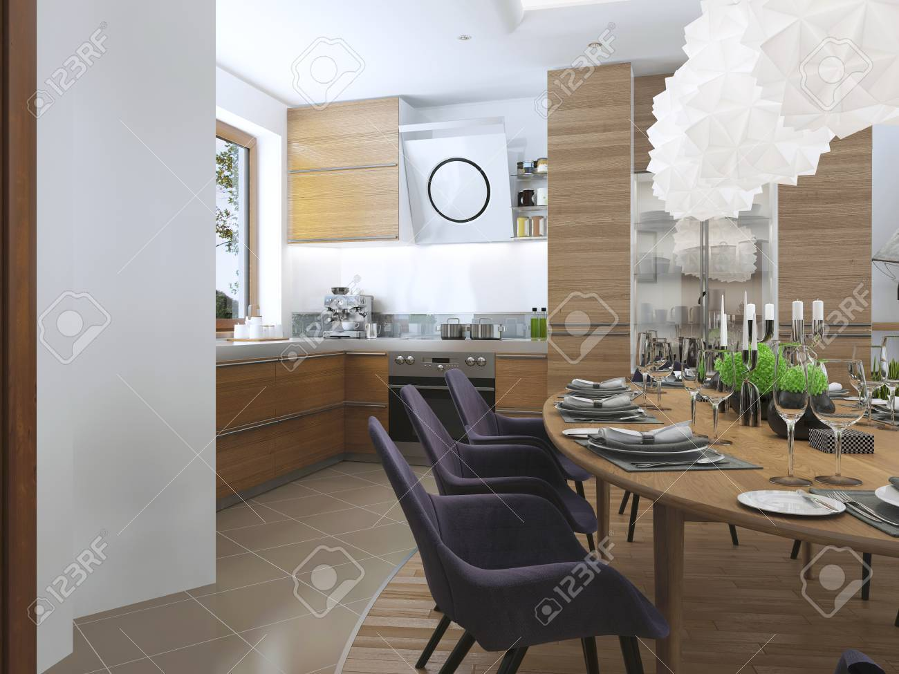 Comedor cocina de diseño con un estilo moderno con una mesa de comedor y  muebles de cocina. muebles de madera en colores brillantes, las sillas ...