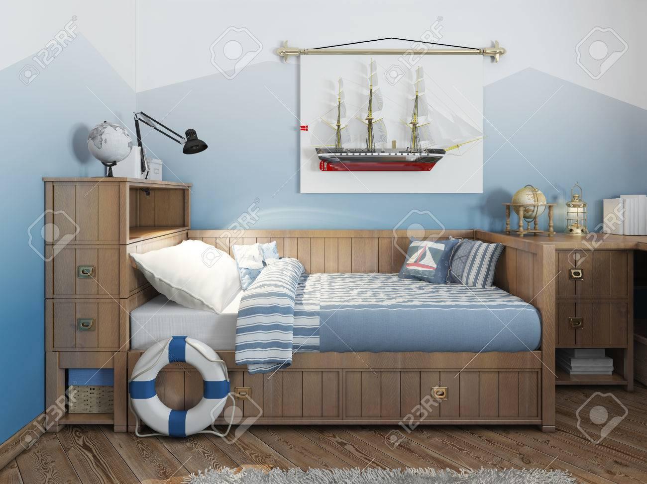 Lit Bébé Pour Un Jeune Adolescent Dans Un Style De Navire Avec Une ...
