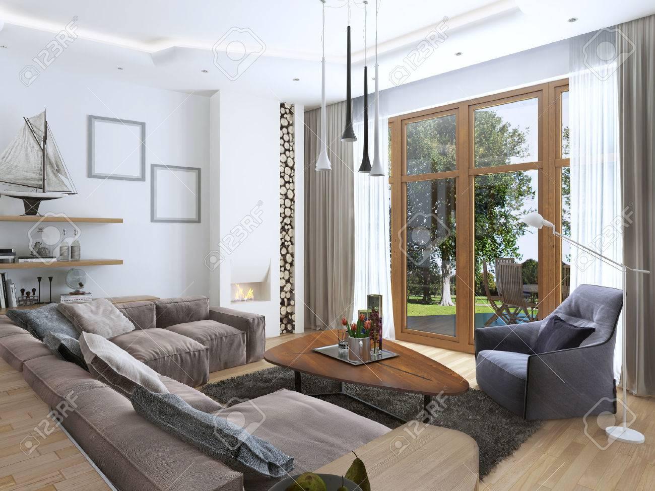 wohnzimmer mit einem groen ecksofa aus einem stoff in einem modernen stil entwerfen sie eine - Wohnzimmer Im Modernen Stil