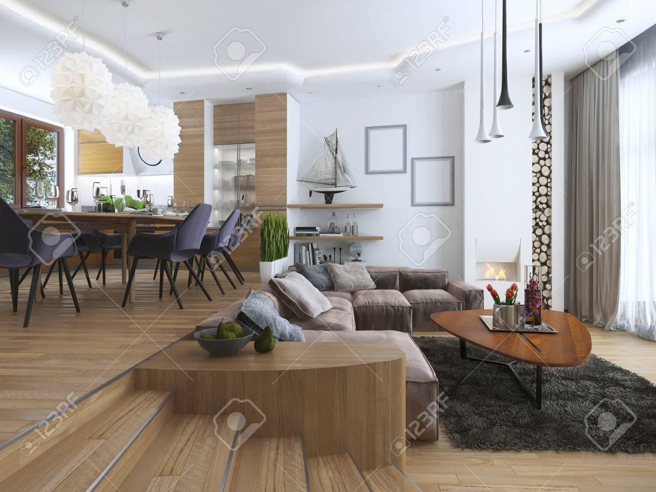 Hervorragend Standard Bild   Studio Wohnung Mit Wohnzimmer Und Esszimmer In Einem Modernen  Stil. Großes Sofa Mit Designer Kaffee Niedrigen Tisch Und Dekoration Auf  Den ...