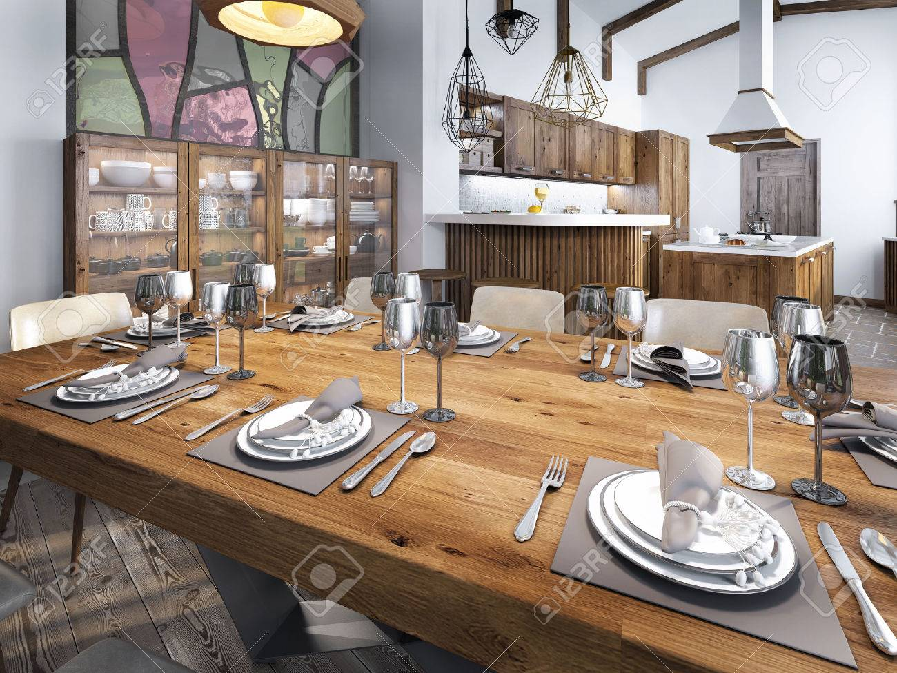Modern Dining Room Built Into The Kitchen Space. Large Dining Wooden Table  For Eight People