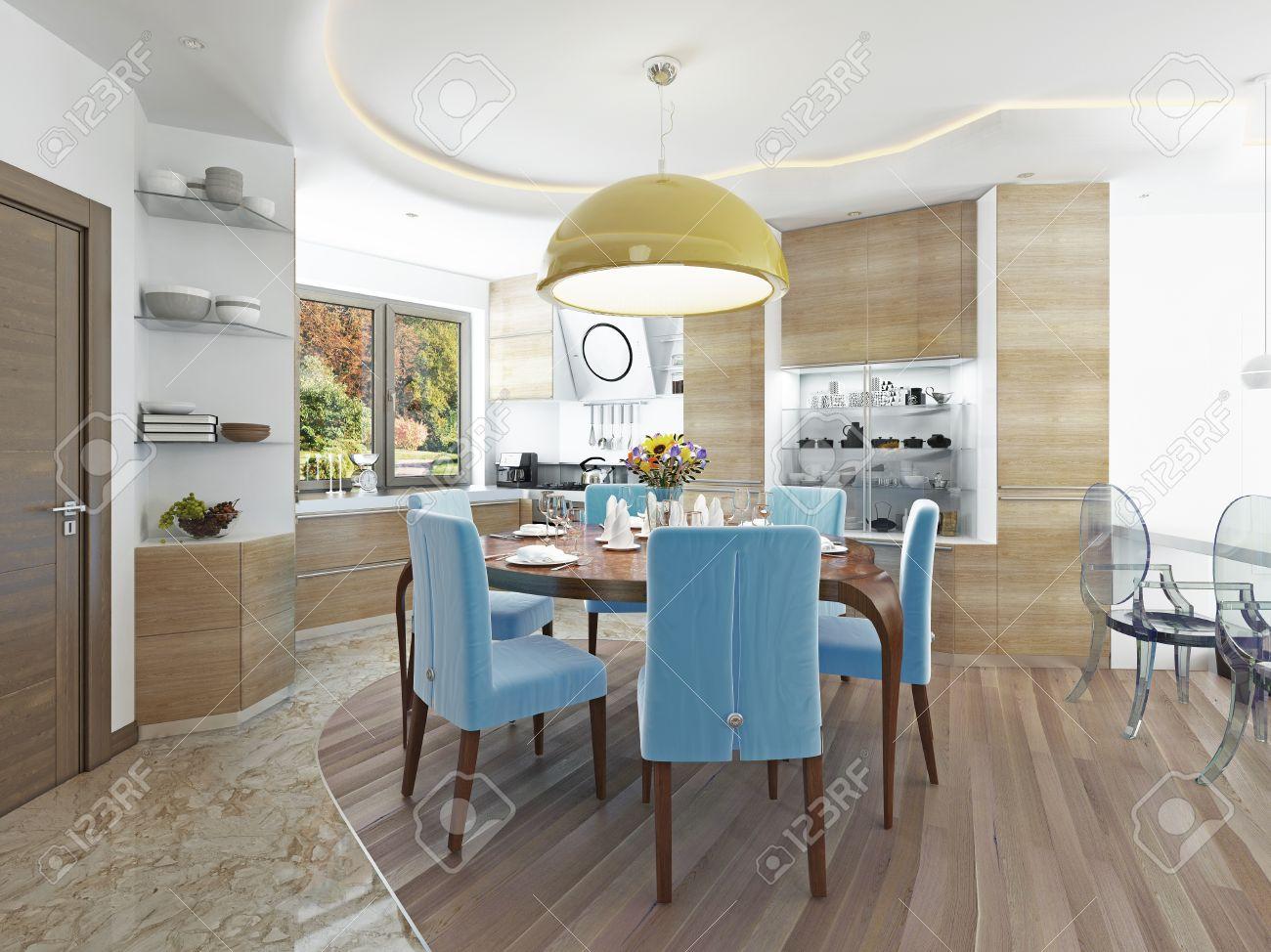 Moderne Salle A Manger Avec Cuisine Dans Un Kitsch Style Branche