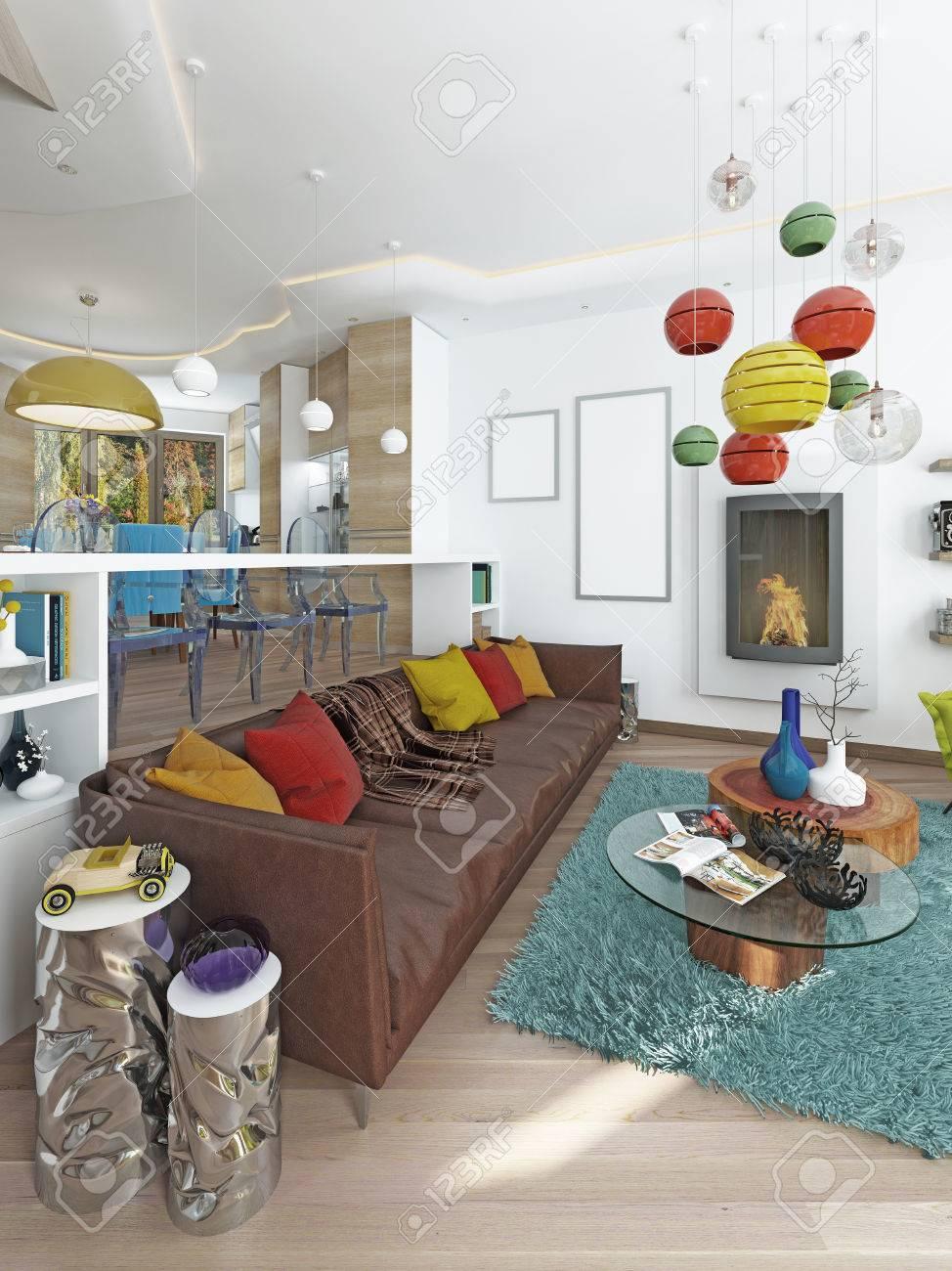 Luxus Großes Wohnzimmer Im Stil Des Kitsches. Moderne Wohnzimmer Mit Großen  Leder, Braun Sofa