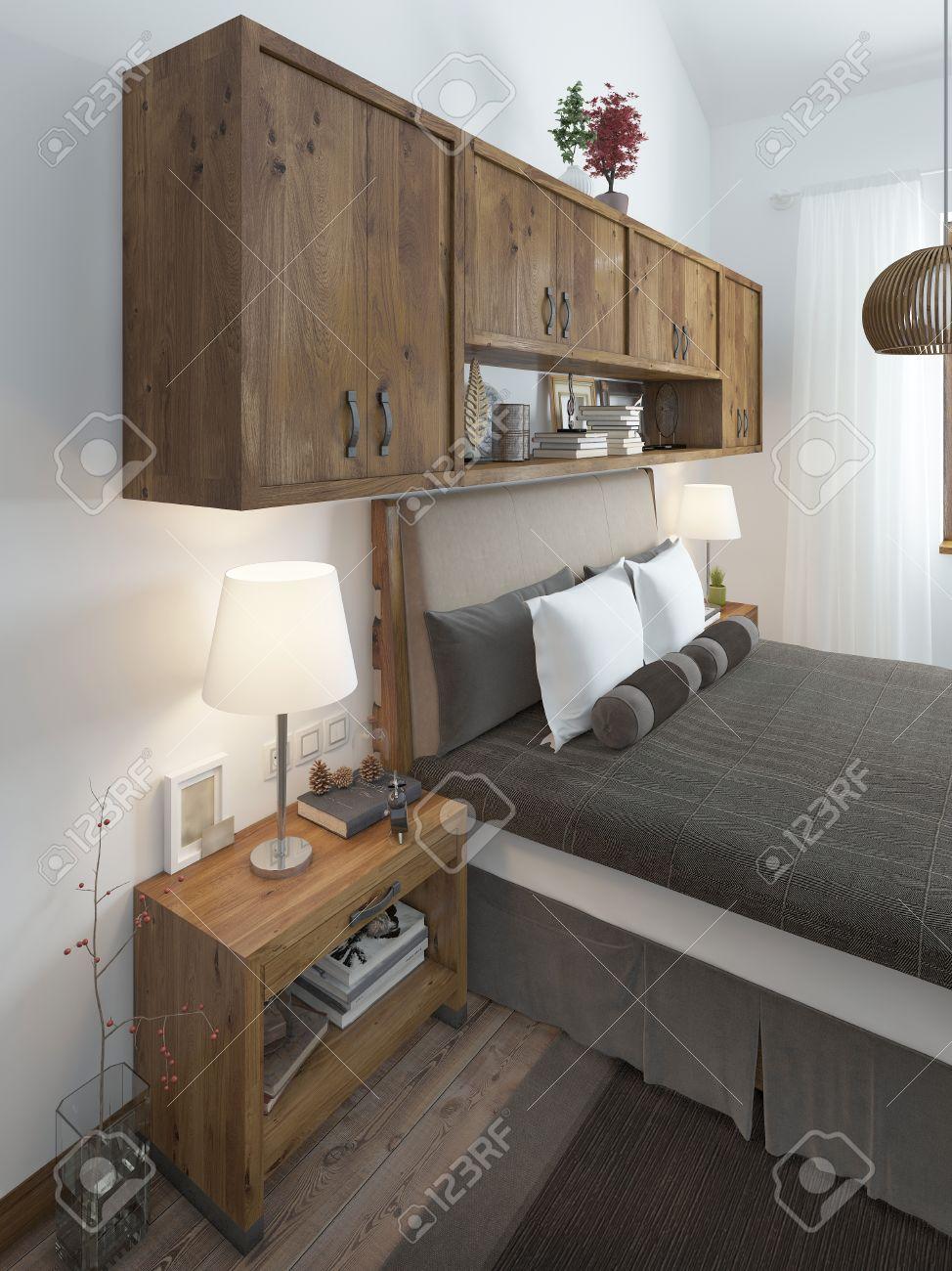 tête du lit avec des oreillers et des tables de chevet. au-dessus du