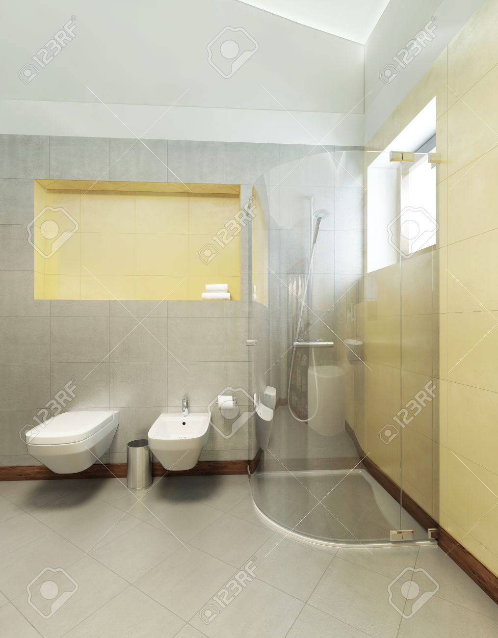 Delicieux Bathroom In Contemporary Style. Bathroom With Gray And Yellow Tiles On The  Walls Of A