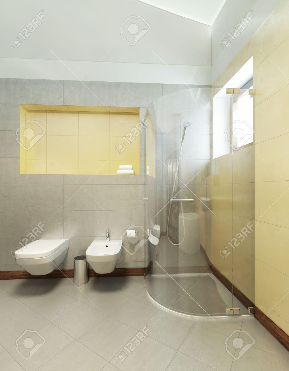 Cuarto de baño en estilo contemporáneo. Cuarto de baño con azulejos grises  y amarillas en las paredes de una cabina de ducha, lavabo, inodoro y bidé.  ...