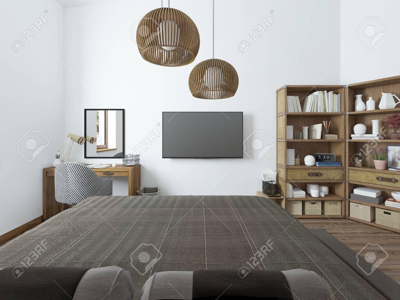 Chambre avec tv bureau et étagères de livres. chambre dans un style