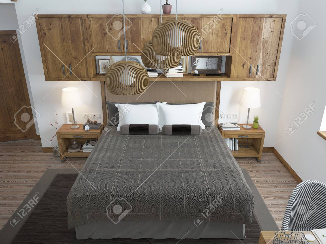 Large Bright Bedroom In The Loft Above The Bed Hang Shelves Stock Photo Picture And Royalty Free Image Image 60566402