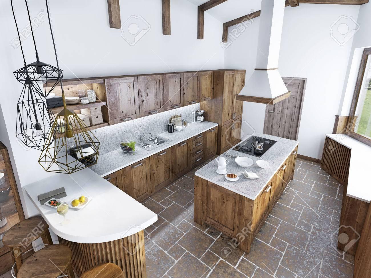Cocina De Lujo Moderna En Un Estilo Loft. El Diseño De Una Cocina ...