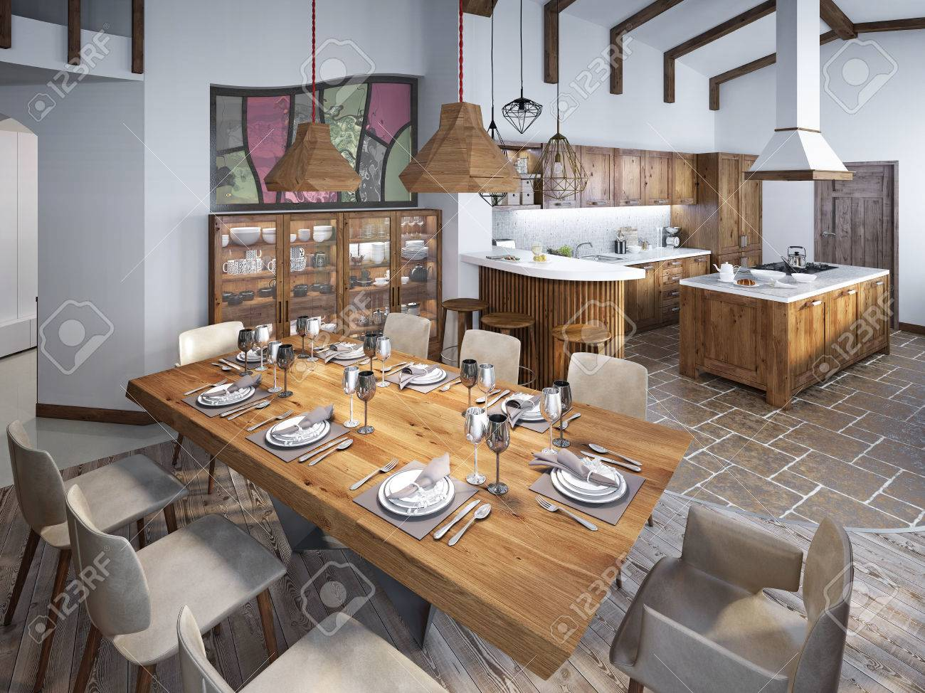 Dining Room With Large Dining Table And High Ceilings In The Loft. Dining  Smoothly Into