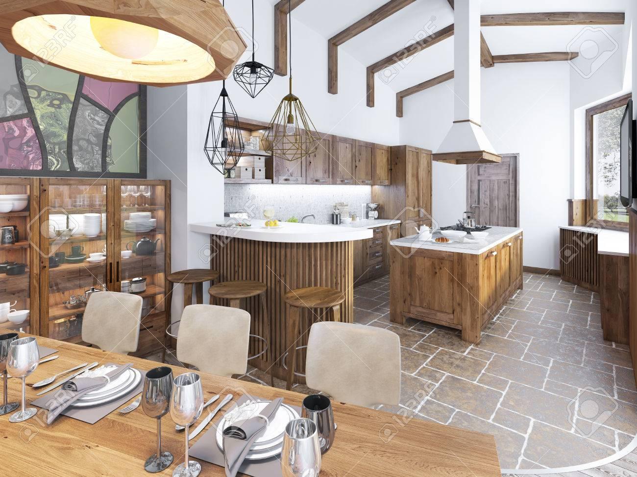 moderne küche und esszimmer auf dem dachboden. küchenmöbel aus