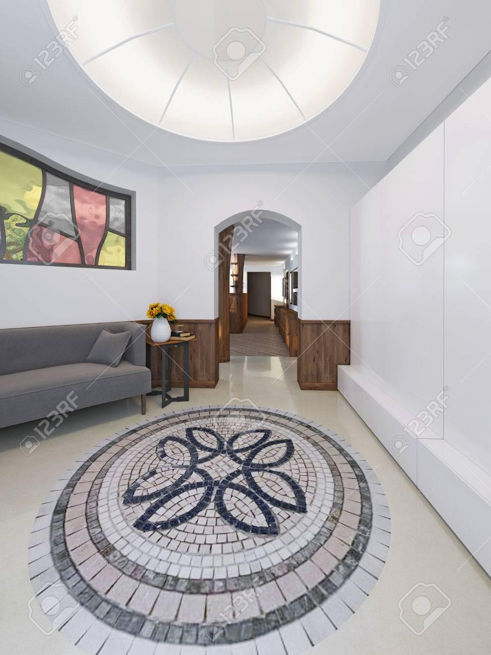 Maison Hall A Un Style Loft Avec Un Haut Plafond Avec Eclairage Le
