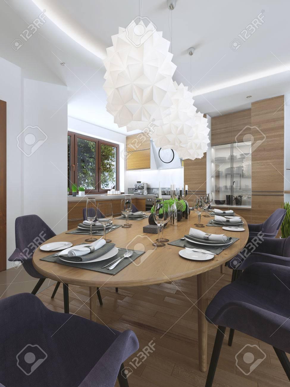 Comedor Cocina De Diseño Con Un Estilo Moderno Con Una Mesa De ...