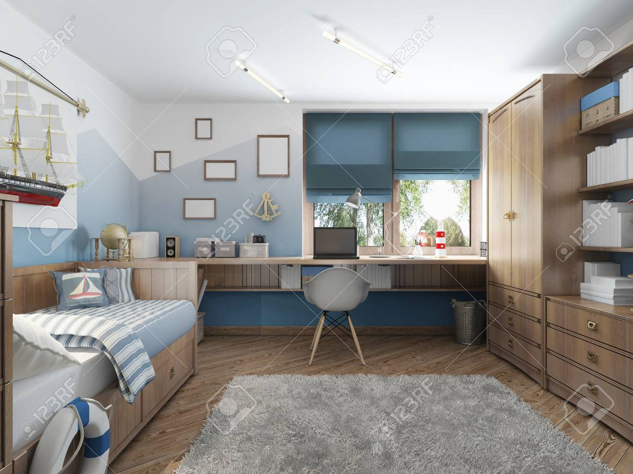 Modern Childrens Room For A Teenager In A Nautical Style With