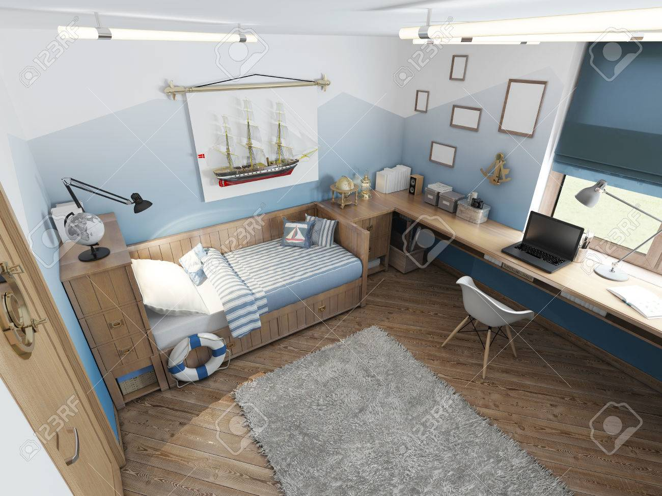 Modern Children S Room For A Teenager In A Nautical Style With