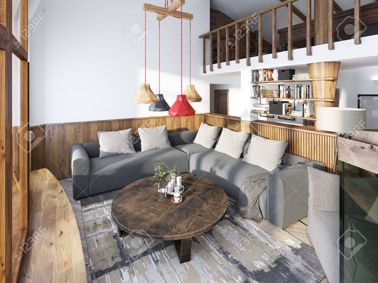 Large Corner Sofa In The Living Room Luxury Loft Style, With Wood Paneled  Walls And