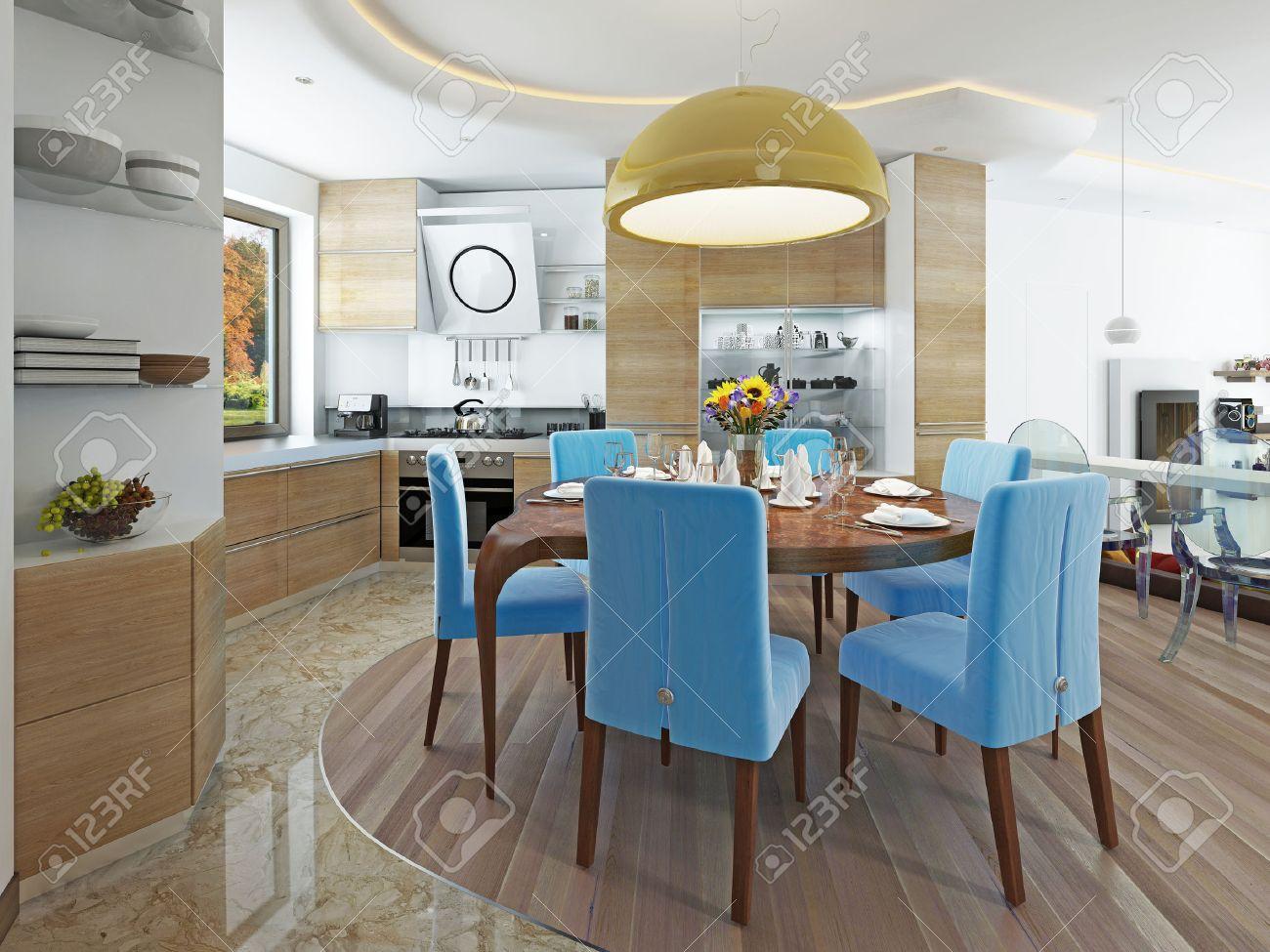 runder holztisch esszimmer, moderne esszimmer mit küche in einem trendigen stil kitsch. runder, Design ideen