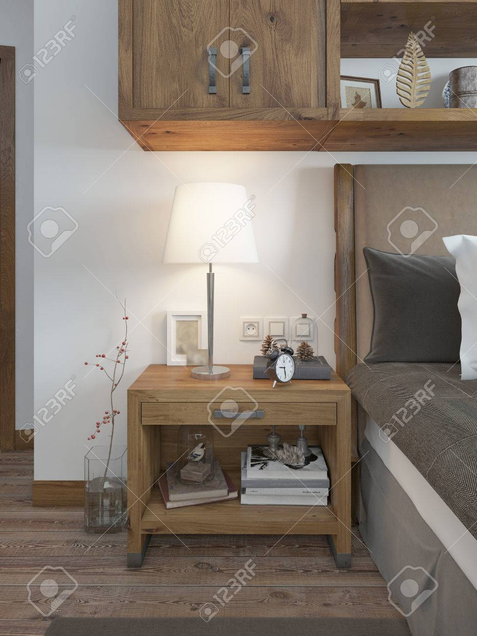 Wooden bedside table with a niche for the decor bedside table stock photo wooden bedside table with a niche for the decor bedside table with lamp and books beside the bed a bed in a rustic style 3d render mozeypictures