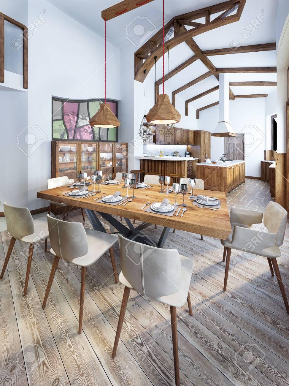 Esszimmer Mit Einem Modernen Landhausstil Küche. Serving Ein Holztisch Für  Acht Personen. 3D übertragen