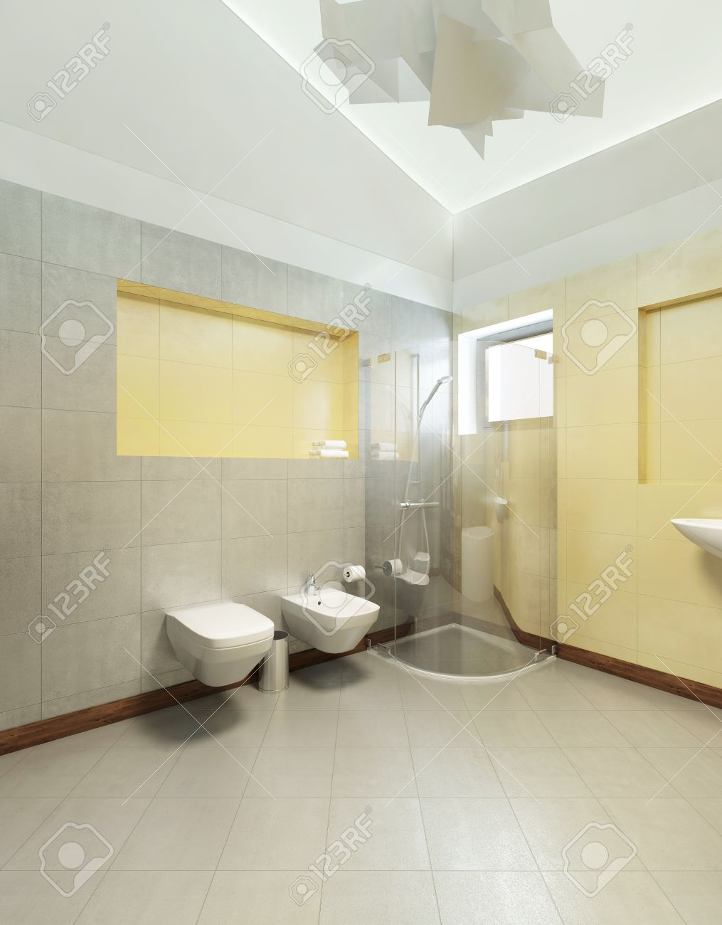 Bathroom In Contemporary Style Bathroom With Gray And Yellow