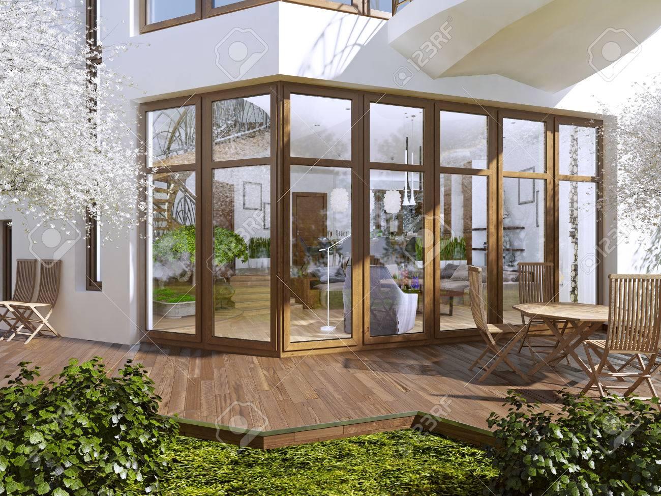 La Terraza De Una Casa Privada Boardwalk Terraza Con Mesa Y Sillas Las Grandes Ventanas Panorámicas Con Vistas Al Jardín Con Terraza Render 3d