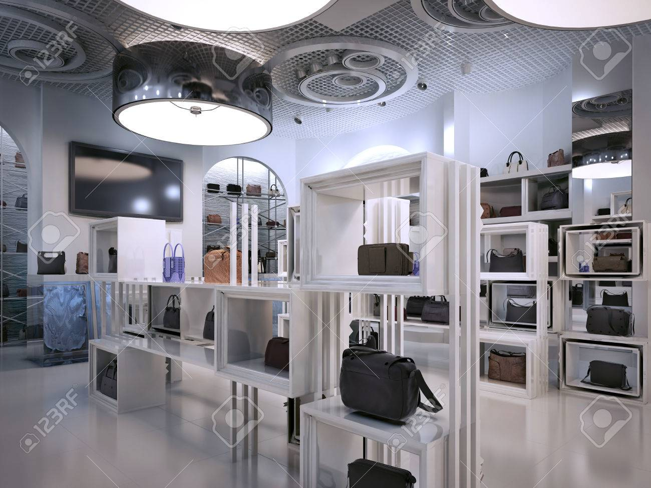 Luxury store interior design art deco style with hints of contemporary interior white store with